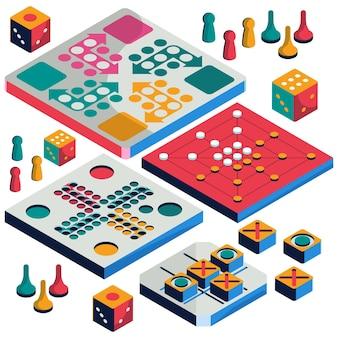 Набор настольных игр изометрический стиль
