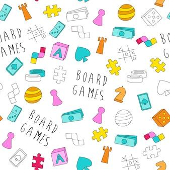 보드 게임 테마 원활한 패턴 다채로운 만화 게임 조각 카드 놀이
