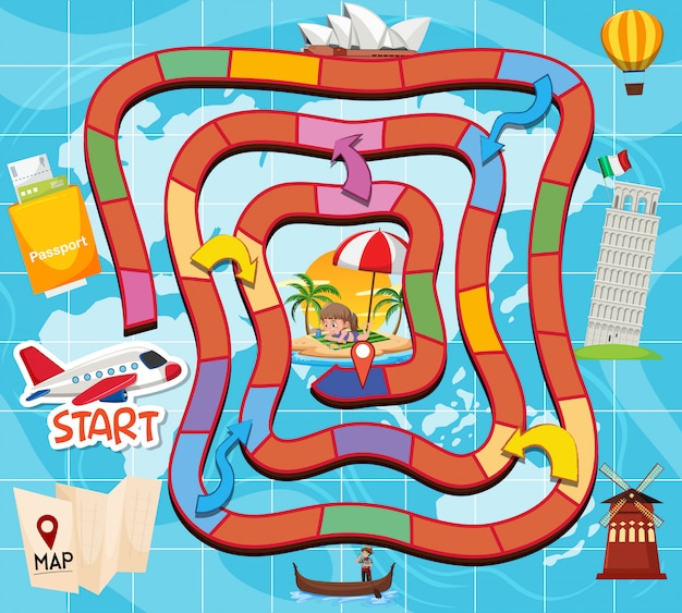 Board game travel theme