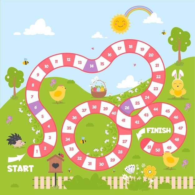 ブロックパスのあるボードゲーム。子供のための春の季節の遊びゲーム。サイコロボードゲーム。戦略チームマップベクトルイラスト。初期の教育活動。ステップバイステップの家族のレジャー活動。