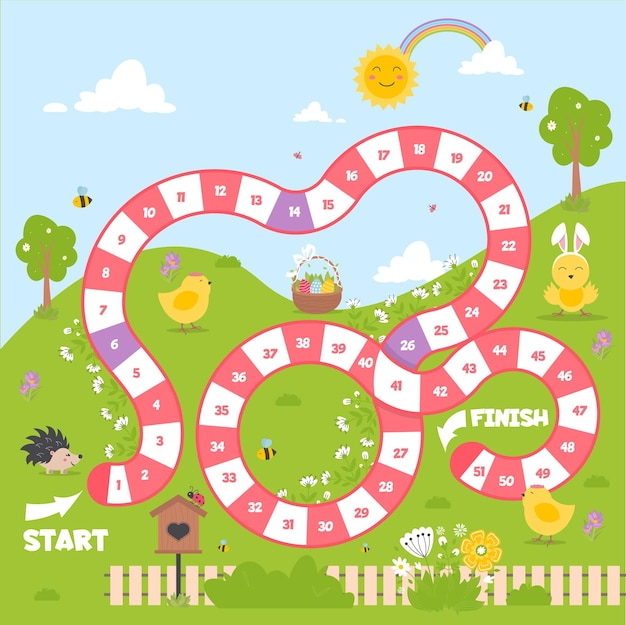 Board game with a block path. spring season play game for children. dice board game. strategy team map vector illustration. early educational activity. step by step family leisure activity. Premium Vector