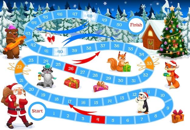クリスマスパスパズルテンプレートとボードゲーム