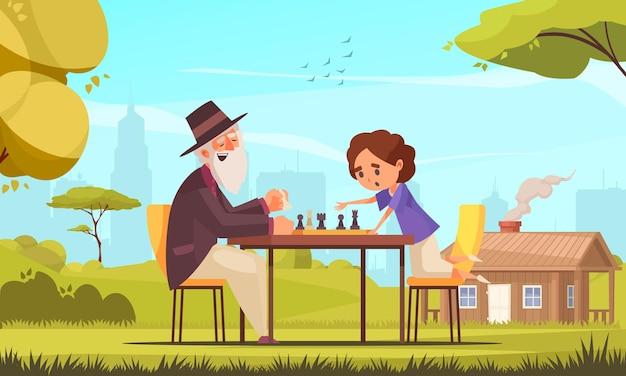 小さな男の子と老人がゲームをプレイするボードゲームのチェスの構成