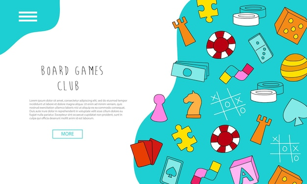Board games club - text banners. hand drawn landing page - board game community. colorful cartoon style