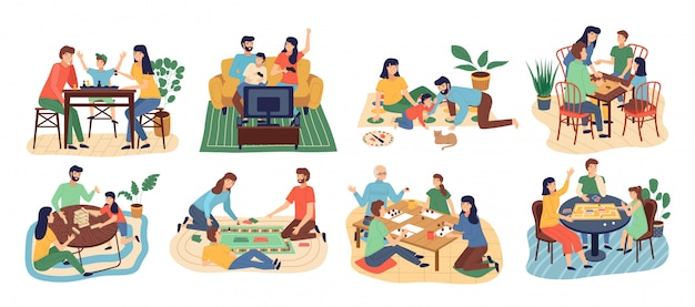 Board games family set. stay home. parents with kids sitting at table and playing tabletop games