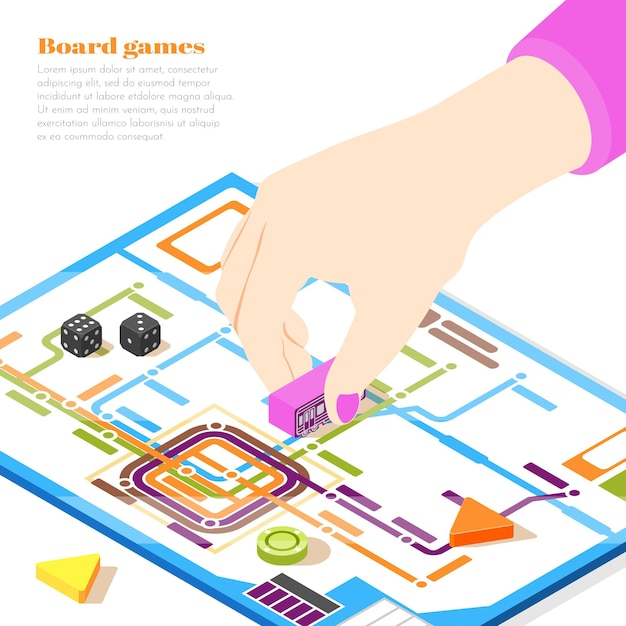 Board games isometric design concept with woman hand moving chip on playing field