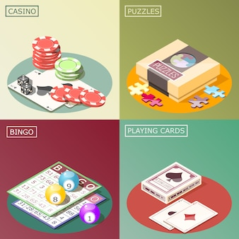 Board games isometric design concept