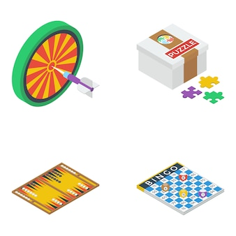 Board games isometric icons pack