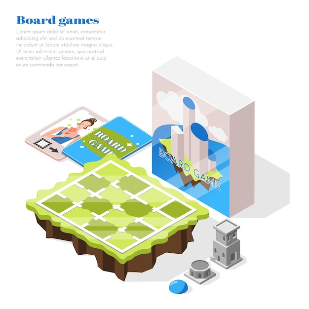 Board games isometric illustration with playing field packing box and brochure with description