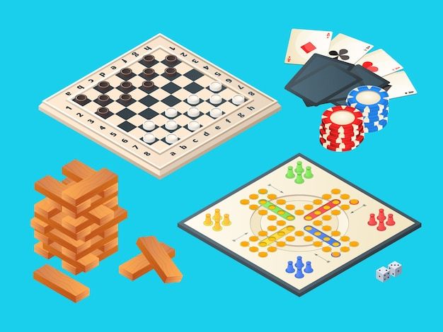 Board games, isometric  of various boards games