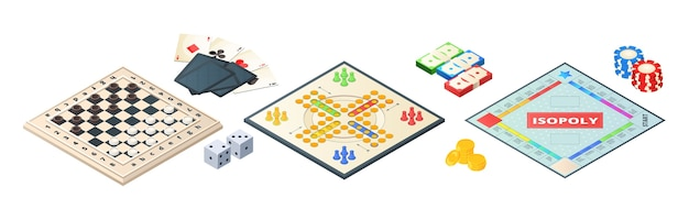 Board games isometric. various tools for board games. dices, pawns cards coins money.  board games elements. illustration board game strategy, leisure and challenge