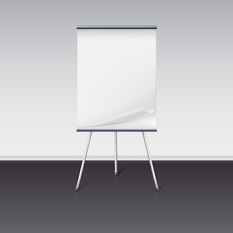 Board for presentations with sheet of paper stand about wall