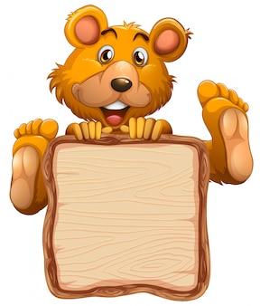 Совет шаблон с милый медведь на белом фоне