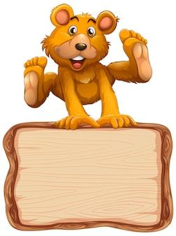 Modello di scheda con simpatico orso su sfondo bianco