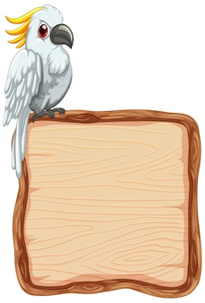 Board template with cute cockatoo on white background