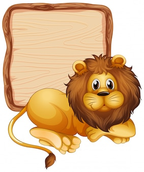 Board template with cute lion on white background