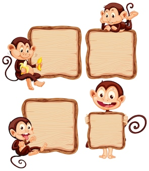 Board template with cute monkeys on white background
