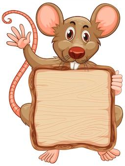 白地にかわいいマウスを使ってボードテンプレート