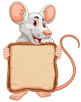 Board template with cute mouse on white background