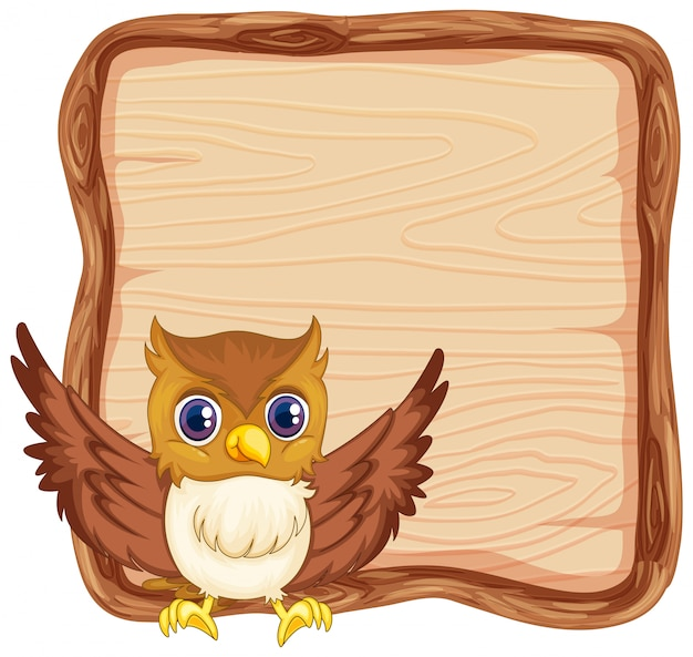 Board template with cute owl on white background