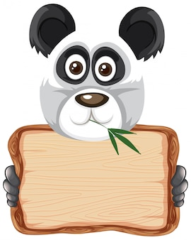 Board template with cute panda on white background