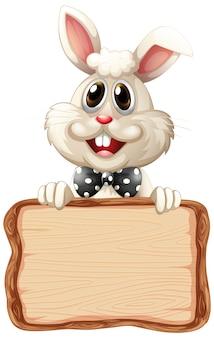 흰색 바탕에 귀여운 토끼와 보드 템플릿