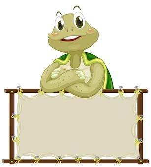 Шаблон доски с милой черепахой на белом фоне