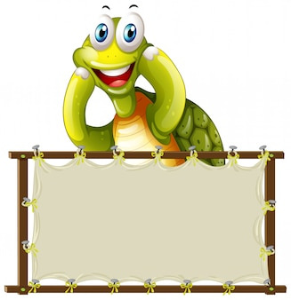 Board template with cute tortoise on white background