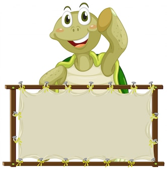 Board template with cute turtle on white background
