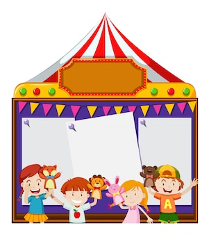 Board template with kids playing puppets