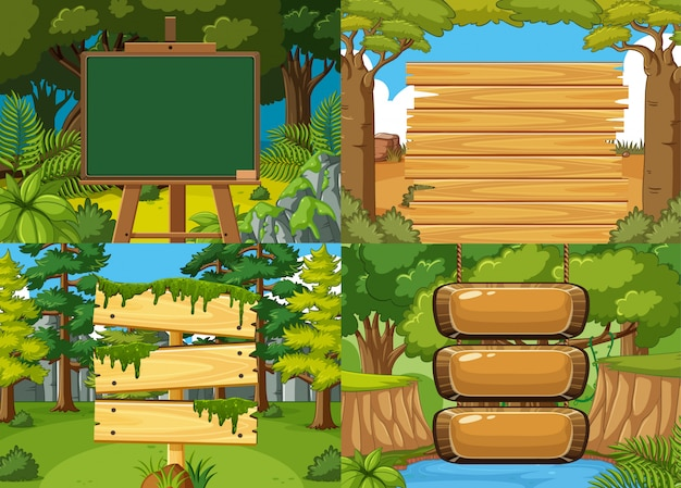 Board template with nature theme background