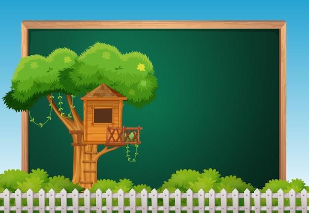 나무 위의 집이 있는 보드 템플릿