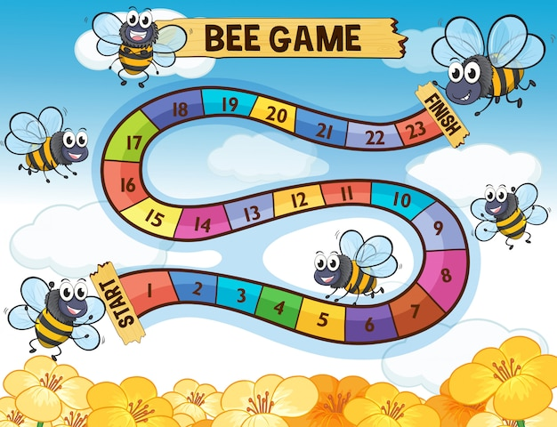 Boardgame template with bees flying