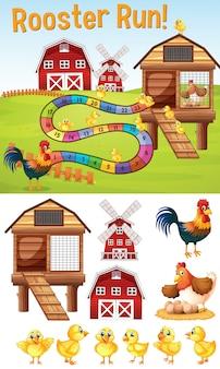 Шаблон boardgame с цыплятами на ферме