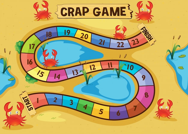 Boardgame template with crabs on the sand