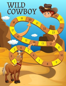 Boardgame template with horse in desert