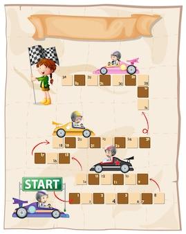 レーシングカーの子供たちとボードゲームテンプレート