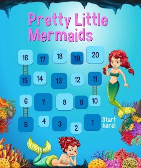 Boardgame template with mermaid in the ocean