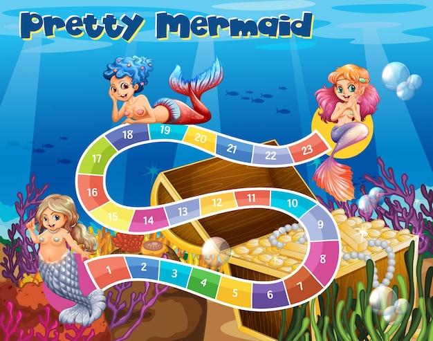 Boardgame template with mermaids underwater