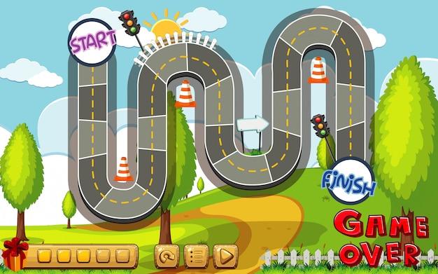 Настольная игра шаблон с дороги в парке фоне