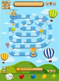 Boardgame with balloons in blue sky