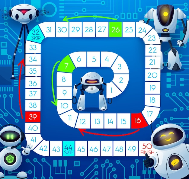Boardgame with robots and motherboard, kids tabletop game