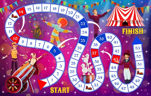 Boardgame with shapito circus performers, kids tabletop game, vector template. kids cartoon track move and dice board game with circus clowns and animals, children entertainment and brain activity