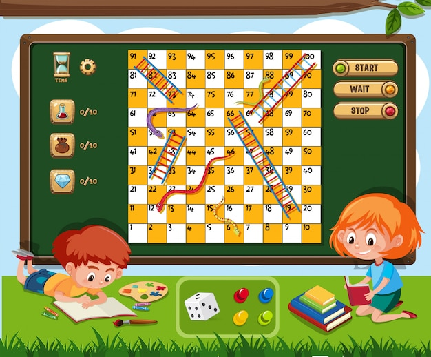 Boardgame with two kids reading book on grass