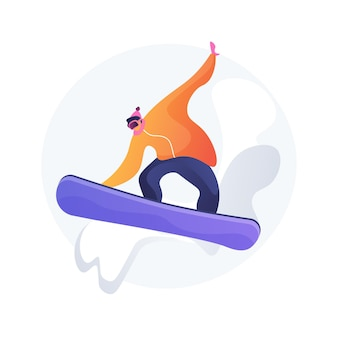 Boarding abstract concept vector illustration. winter sport, outdoor activity, snowboard helmet and goggles, mountain holiday, extreme sports, alpine ski, freestyle rider, snow abstract metaphor.