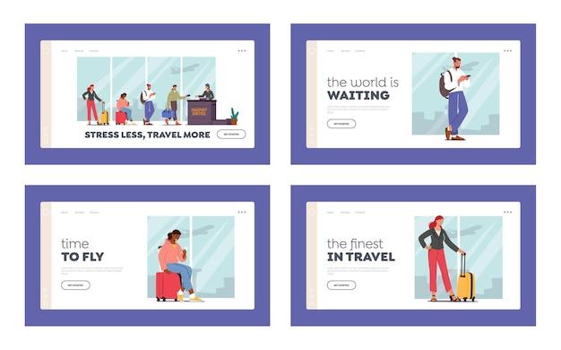 Boarding, air flight landing page template set