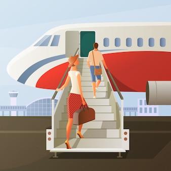 Посадка в составе самолета