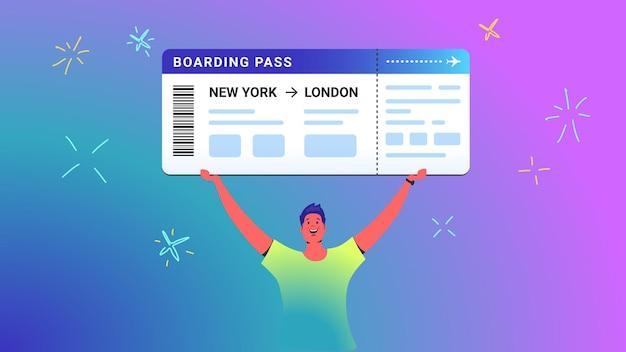 젊은 남자의 탑승권 개념 벡터 삽화는 승자로서 그의 머리 위에 큰 티켓을 보유하고 있습니다. 행복한 밝은 사람들은 그라데이션 배경의 복권을 통해 상을 받습니다. 탑승권 템플릿