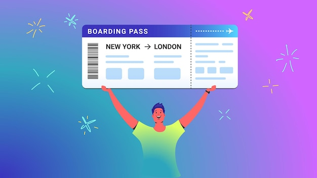 Boarding pass concept vector illustration of young man holds over his head big ticket as a winner. happy bright people win prizes via lottery ticket on gradient background. boarding pass template Premium Vector