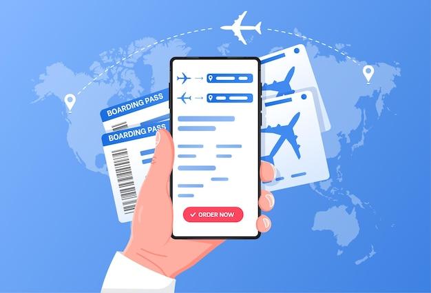 Мобильный посадочный талон для онлайн-регистрации и самолетов, летающих в облаке